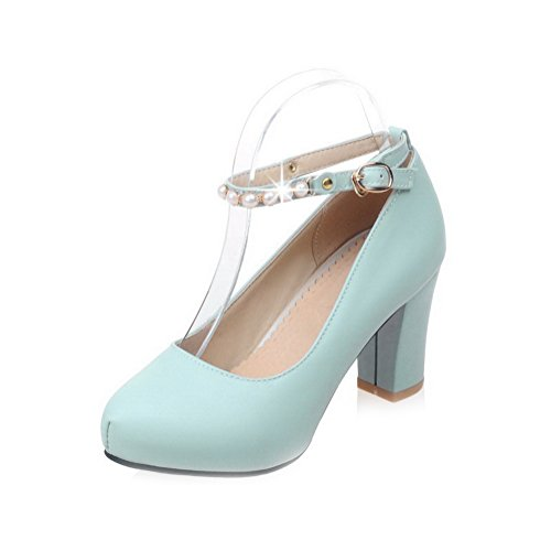 Damen Rein Blend-Materialien Mittler Absatz Schnalle Pumps Schuhe, Blau, 37 AllhqFashion
