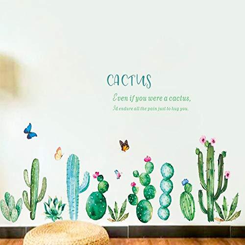 Atiehua Pegatinas De Pared Cactus Flores Pegatinas De Pared Decoraciones Para El Hogar Para La Tienda Bar Dormitorio Pastoral...