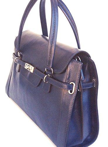 Superflybags Borsa Donna in Vera Pelle Tamponato modello Vinta Made in Italy Blu scuro