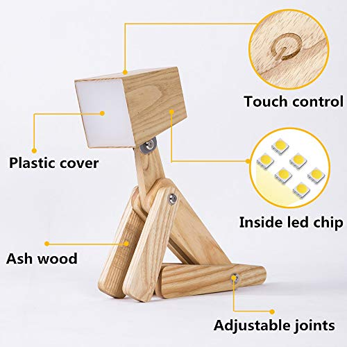 HROOME Modern Cute Dog Adjustable Wooden Dimmable Beside Desk Table Lamp Touch Sensor with Night Light for Bedroom Office Kids (Wood Body-Neutral Light 4000-5000k) by HROOME (Image #2)