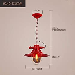Personalize the creative Lamps Retro loft industrial wind personality iron art restaurant and bar lounge single head,red Chandelier