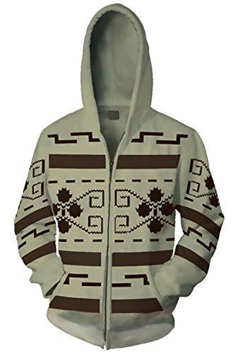 Hibuyer 3D Printing Jeffrey Lebowski Inspired Adult Zip up Hoodie Sweatshirt Cosplay Costume Unisex -