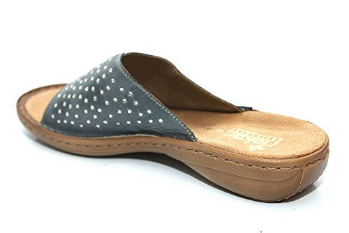 Rieker Womens Leather Flat Comfort Mule Summer Slip On Sandals Size UK 4 5 6 7 8 12 Whitedenim 13hjJtc