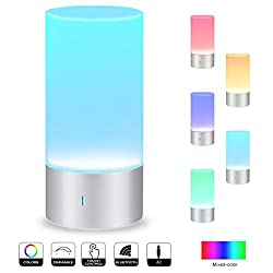Smart Touch Table Lamp with Bluetooth Speaker, AONOKOY Portable Speaker Touch-Sensor Bedside Table Lamp Dimmable Warm White Light & Dimmable RGB Color Change Night Light Desk Lamp