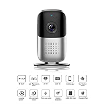 VR Panoramic HD IP Camera, ALLOM Fisheye Lens HD 2MP 180° WiFi Home Security System CCTV Camera with 10m/33ft Night Vision Two-Way Audio Video Motion Detection for Android IOS APP