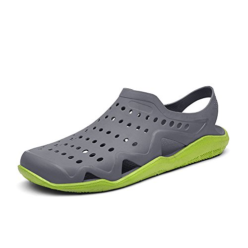 White Flat Heel Gray Sandals Men's Skid amp;Baby Sunny Green 5 Outdoor Color Black Vamp On D Hollow 9 Slip M Size Small Mules US Anti qWptW4SPa