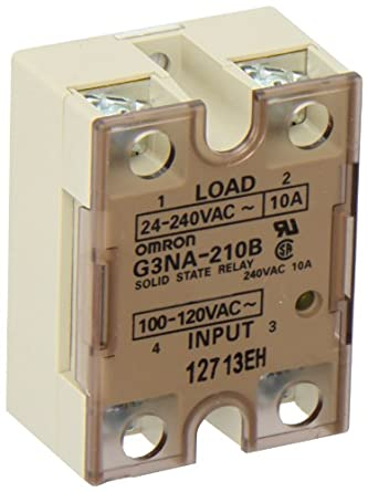 Omron G3NA-210B-AC100-120 Solid State Relay, Zero Cross Function, Yellow Indicator, Photocoupler Isolation, 10 A Rated Load Current, 24 to 240 VAC Rated Load Voltage, 100 to 120 VAC Input Voltage