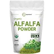 Sustainably US Grown, Organic Alfalfa Powder, 1 Pound (16 Ounce), Best Green Superfoods for Smoothie, Drinks, Beverage and Cookies, Non-GMO and Made in USA