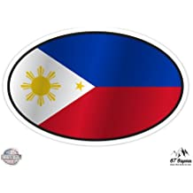 Philippines Flag Oval - Vinyl Sticker Waterproof Decal