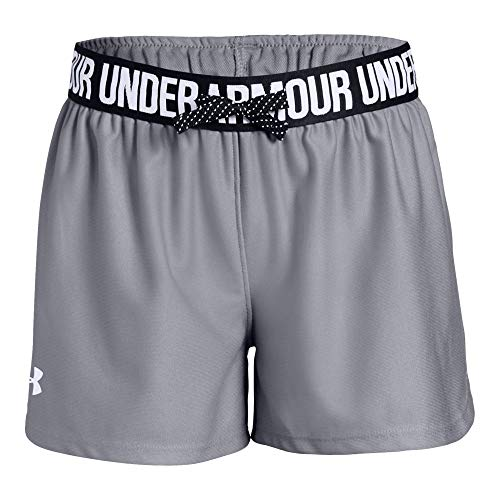 (Under Armour girls Play Up Workout Gym Shorts, Steel (035)/White, Youth Large)