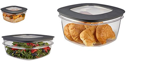 (Rubbermaid Premier Food Storage Container, 14 Cup, 9 Cup, 5 Cup, Grey,)