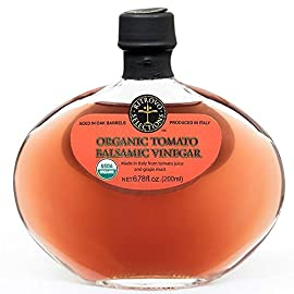 Organic Tomato Balsamic Vinegar - Ritrovo Selections - 6.78oz 122 Excellent for a tomato vinaigrette Pair with EVOO for a new take on Caprese or tomato Salads Brings a light tomato flavor to chicken burgers, fish burgers, hamburgers or other dishes where ketchup is used