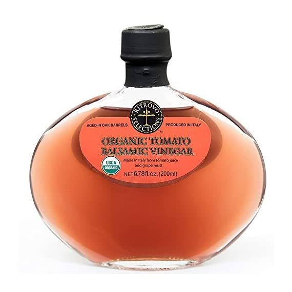 Organic Tomato Balsamic Vinegar - Ritrovo Selections - 6.78oz 1 Excellent for a tomato vinaigrette Pair with EVOO for a new take on Caprese or tomato Salads Brings a light tomato flavor to chicken burgers, fish burgers, hamburgers or other dishes where ketchup is used
