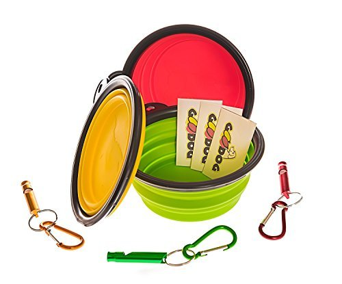 Travel Dog Bowl (Set). Collapsible, Durable 13cm Silicone Bowls. Fast Foldable Design, Perfect for Dogs, Cats, Pets Food and Water. Set Includes 3 Bowls 3 Clips & 3 Whistles (Assorted Colors)