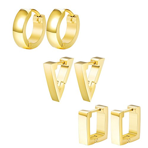 ORAZIO 3 Pairs Stainless Steel Triangle Square Round Hoop Earrings for Men Women Geometric Huggie Earrings Gold Tone