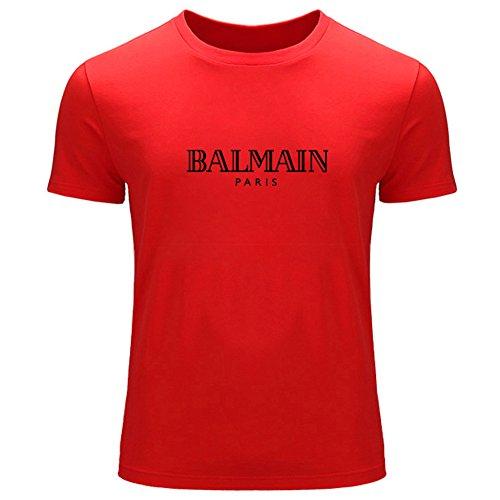 Para Rosso Impreso Hombre Balmain El Logotipo Con De Camiseta 546fxO