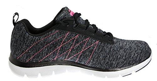 Skechers Sport Frauen Flex Appeal 2.0 Fashion Sneaker Schwarz / Pink