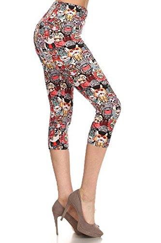 iZZYZX Women's Popular Print Cropped CAPRI Leggings - Small to 4XL (S/M/L (Women 2-10), Monster (Sexy Female Cartoon Characters)