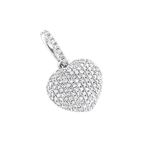 18k White Gold Pave Diamond Pendant (Ladies 14K Affordable Natural Pave Set 0.3 Ctw Diamonds Heart Pendant For Her (White Gold))