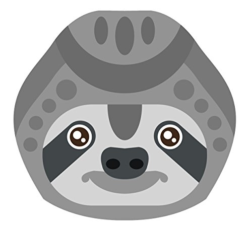 Pretty Tribal Gray Sloth Head Cartoon Vinyl Decal Sticker (4&Quot; Wide) -