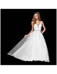 9b9c4a06e3c Women s Wedding Dress for Bride Lace Applique Evening Dress V Neck Straps Ball  Gowns