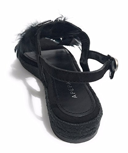 Donna Valentine MOD in Nero Corda Apepazza Scarpe DS18AP21 Suede Sandalo x1nT5Iaqp