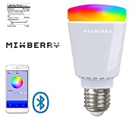 Bluetooth Smart LED Light Bulb by Mixberry - E27 Medium Base - 16 Million Dimmable Colors - Features Sleep/Wake & Party Modes - Control with your Apple iPhone, iPad or Android Tablet or Smartphone