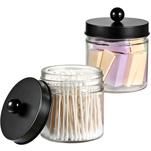 Bathroom Vanity Glass Storage Organizer Holder Canister Apothecary Jars for Cotton Swabs, Rounds, Balls, Qtips,Makeup Sponges, Flossers,Bath Salts - 2 Pack, Clear (Black)