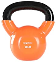 AmazonBasics Vinyl Kettlebell - 20 Pounds, Orange