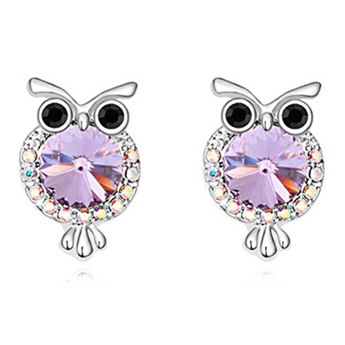 White Gold Silver Animal Purple Owl Stud Earrings for Kids Girls Women Birthday Christmas Gifts Crystal from Swarovski 925 Sterling Silver Needle (White Gold Owl)