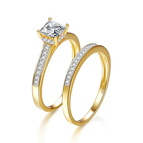 Bonlavie Princess Cut Pave Setting 18K Yellow Gold Plated Bridal Wedding Engagement Ring Set Size 7.5