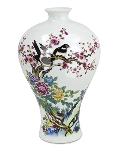 Dahlia Love Birds Flower Oriental Famille Rose Porcelain Flower Vase, 9 Inch Plum Shaped ()