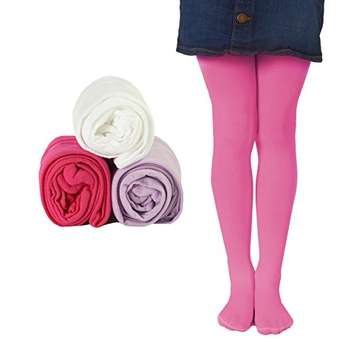 (Mallary Girls Microfiber Tights 3-Pack Multi Color (Lavender, Totally Pink, White) 4 to 6)