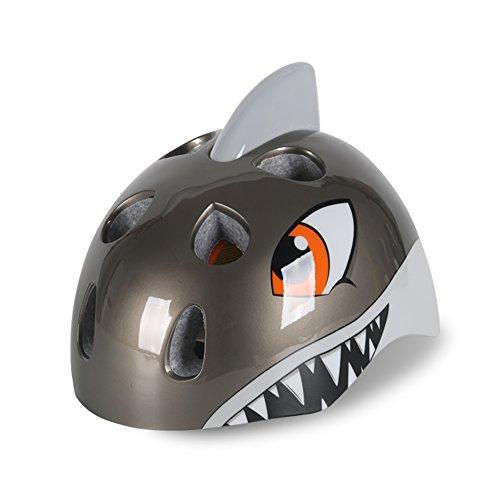 Popo Rabbit Multi-Sport 3D Shark Kids Adjustable Protective Safety Bike Cycling Helmet (Gray)]()