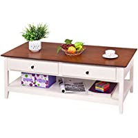 Giantex Wood Coffee Table Cocktail Table with Drawer & Storage Shelf for Living Room, Walnut & White