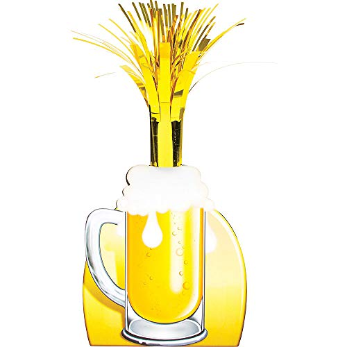 (3X pcs) Beer Mug Cascade Centerpiece 5in x 15in Cardstock & Foil Decoration for Oktoberfest, St. Patrick's Day, Birthday and Theme Parties.