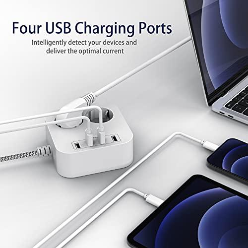 Multiprise USB, Multiprise Electrique 2 Prises avec 4 Ports USB 5V/2,4A, Parafoudre et Surtension, Multiprise USB avec Rallonge 5 Pieds(1.5m) pour Maison, Bureau et Smartphone