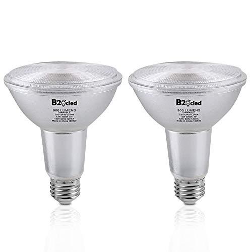 B2ocled Par30 Flood Long Neck Halogen Light Bulb 12W(75 Watt Equivalent)-Dimmable-Warm White 3000K-E26/E27 Base-LED Flood Light Bulbs for Indoor/Outdoor-2 Pack
