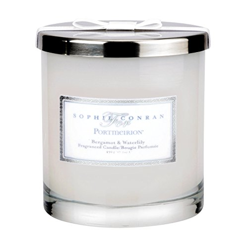 Sophie Conran Bergamot and Water Lily 2 Wick Wax Filled Glass with Silver Lid, Multi-Colour, 11 x 11 x 11.5 cm ()