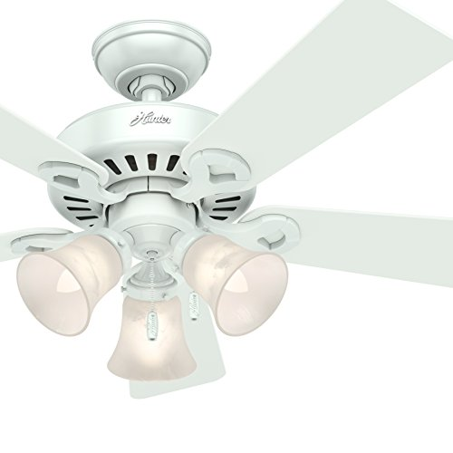 Hunter Fan 44 inch White Finish Ceiling Fan with Swirled Marble 3-Light Fixture and Remote Control, 5 Blade (Renewed)
