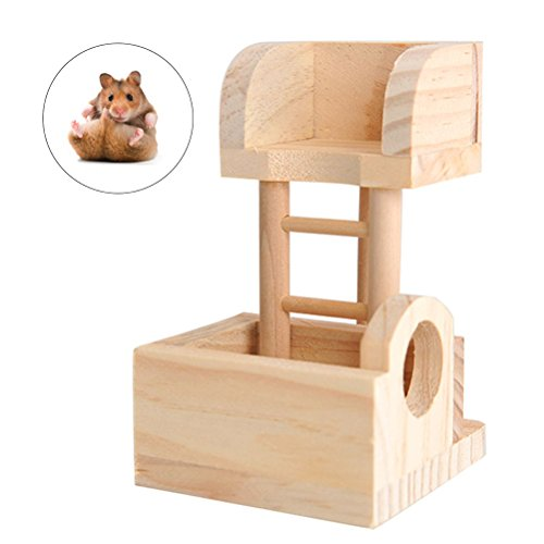UEETEK Wooden Hamster Observation Lookout Tower Toy for Pet Rat Mouse Dwarf Hamster