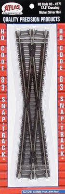 Code 83 Nickel Silver 12-1/2 degree Crossing HO Scale Atlas Trains (Ho Model Track Railroad Set)