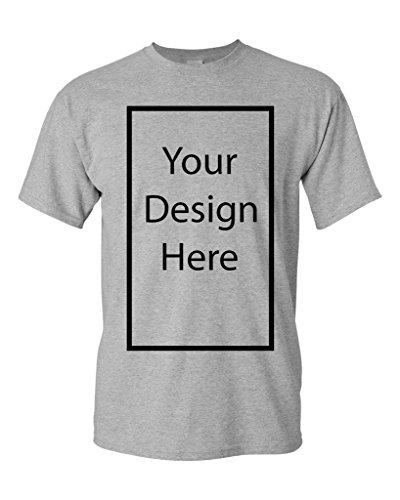 Add Your Own and Text Design Custom Personalized Adult T-Shirt Tee (Medium, Sports Gray)