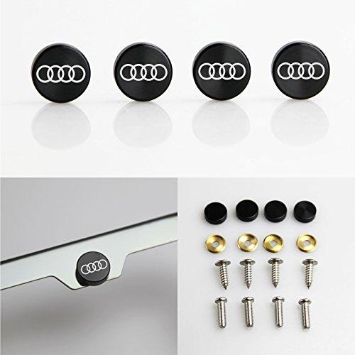 Set of 4 Audi Logo Laser Engraved Black Aluminum Metal Cap Stainless Steel Screw for Car License Plate Frame