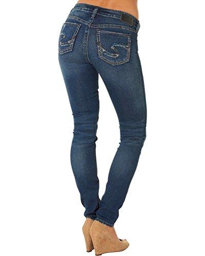 Silver Jeans Women's Suki Joga Destructed Mid Rise Super Skinny Jean, Indigo, 31x31
