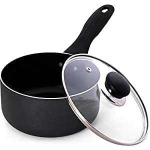 Utopia Kitchen 2 Quart Nonstick Saucepan with Glass Lid – Induction Bottom – Multipurpose Use for Home Kitchen or Restaurant (Bulk Pack of 6)