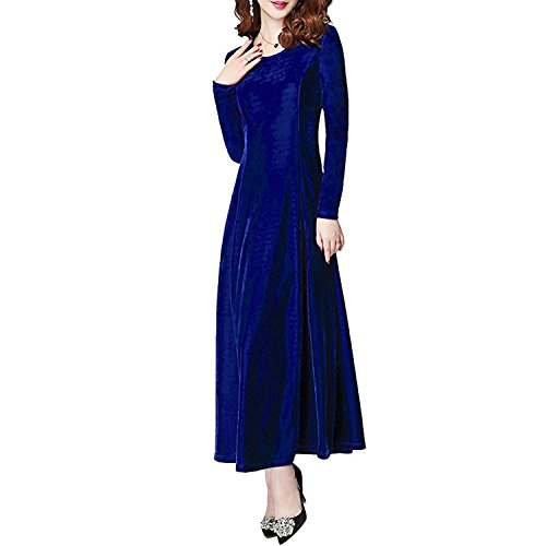 de Larga de Manga Maxi Redondo Terciopelo Elegante Cuello Xsayjia Fiesta Largo Vestido Vestido Mujer Vestido Blue qwnSnBOH