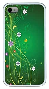 Abstract Spring TPU White Case for iphone 4S/4