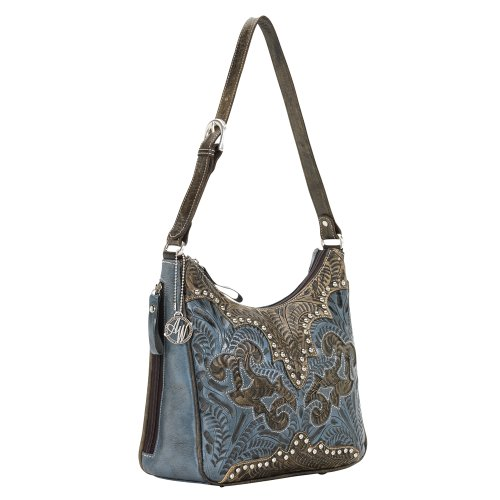 American West Annie's Secret Hobo Bag, Distressed Charcoal/Denim Blue, One Size