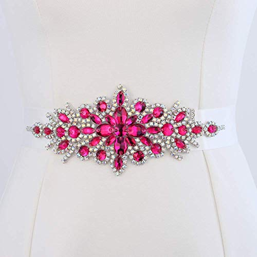Pink Wide Bridal Wedding Dress Sash Belt Applique with AB Crystals Rhinestones Decorations Handcrafted Sparkle Elegant Thin Sewn or Hot Fix for Women Gown Evening Prom ()